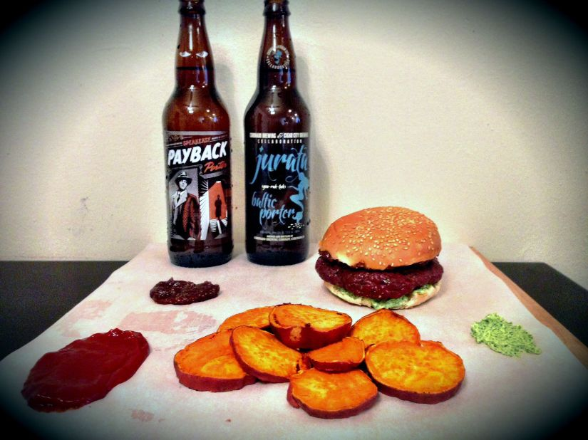 Guest Post: Oven Roasted Lamb Burgers with Goat Cheese, Fig Spread, Sweet Potato Chips, and SpicyKetchup