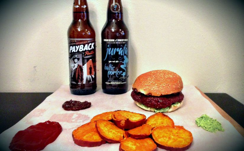 Guest Post: Oven Roasted Lamb Burgers with Goat Cheese, Fig Spread, Sweet Potato Chips, and Spicy Ketchup