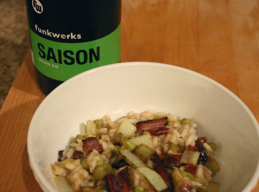 Saison Risotto with Bacon, Leeks and Sweet Peas