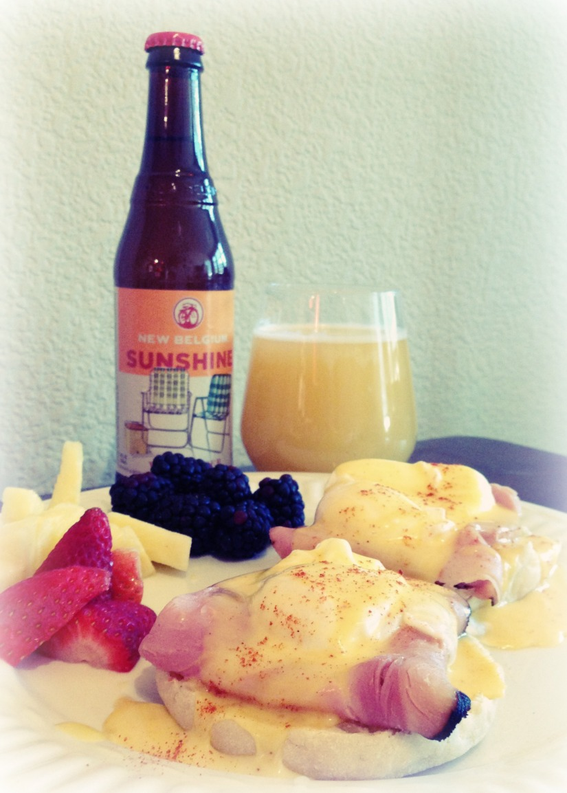 Eggs Benedict and Sunshine Wheat Beermosa