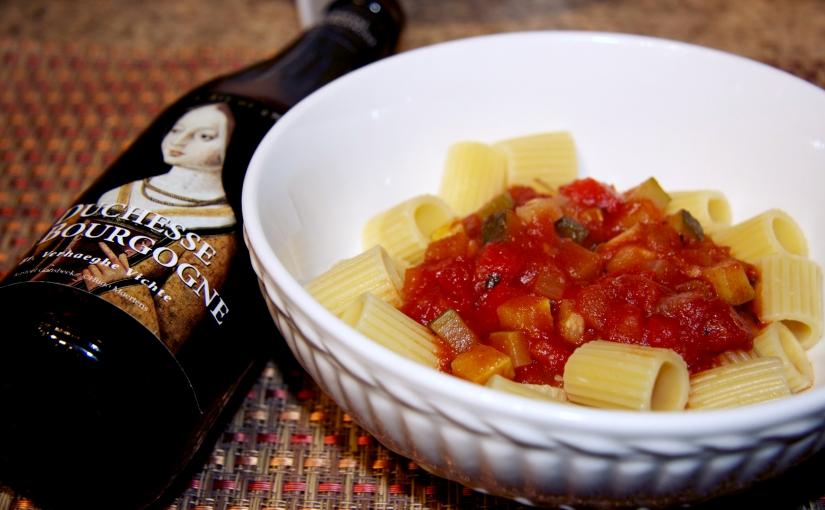 Chunky Veggie Pasta Sauce made with Duchesse deBourgogne