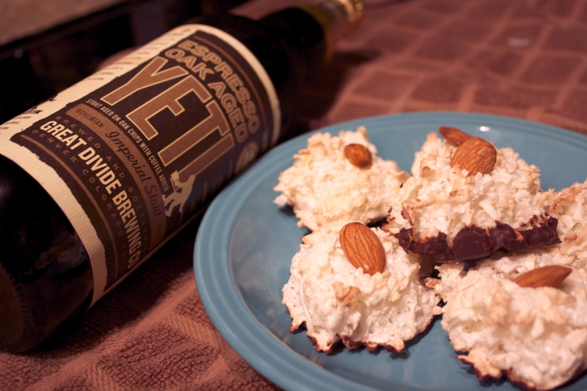 Galentine's Day – Chocolate Dipped Coconut Almond Macaroons and Espresso Oak Aged Yeti by GreatDivide