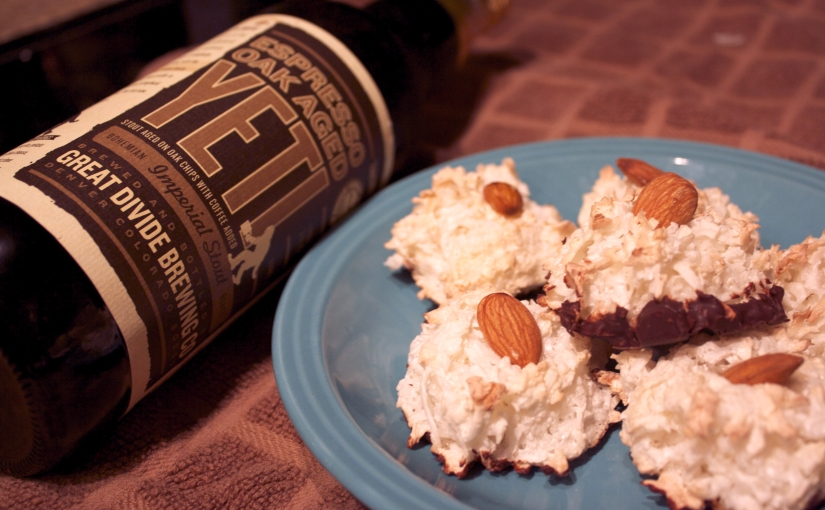 Galentine's Day – Chocolate Dipped Coconut Almond Macaroons and Espresso Oak Aged Yeti by Great Divide