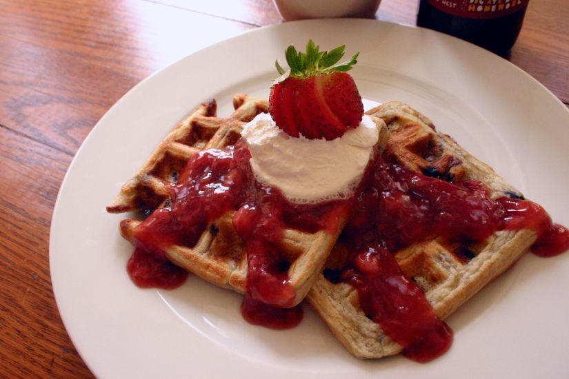 Blueberry Waffles topped with a Saison Strawberry Compote