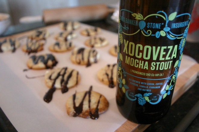 Walnut Butter Cookies topped with Xocoveza Chocolate