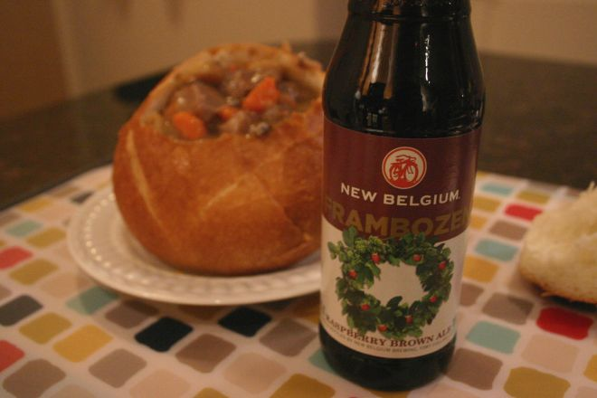 Frambozen Beef Stew Drink and Spoon